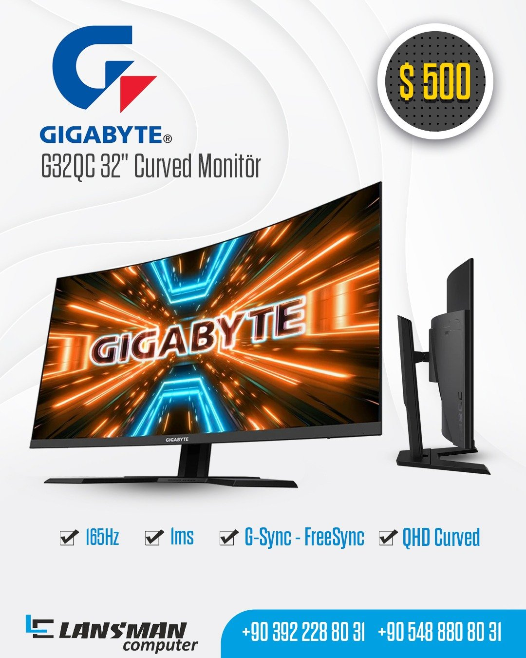 "GIGABYTE G32QC 32"" CURVED MONİTÖR"